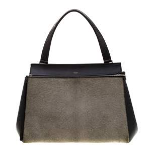 Celine Black/Grey Leather and Calf Hair Medium Edge Top Handle Bag