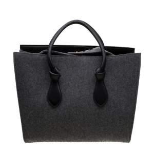 Celine Grey/Black Felt Leather Medium Tie Tote