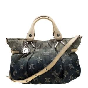 Celine Blue Macadam Denim and Croc Embossed Leather Tote