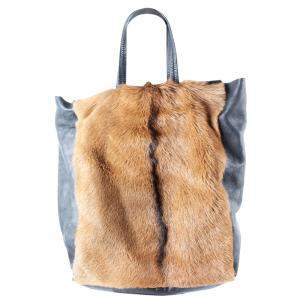 Celine Brown Fur Vertical Cabas Tote