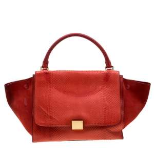 Celine Red Python and Suede Medium Trapeze Bag