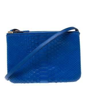 Celine Blue Python Leather Small Trio Crossbody Bag