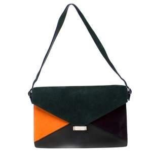Celine Multicolor Suede,Calfhair and Leather Diamond Clutch Bag