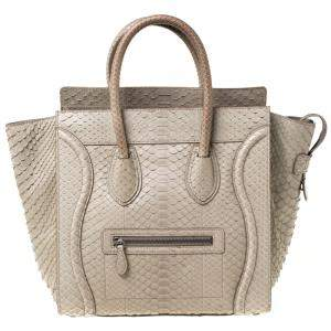 Celine Grey Python Mini Luggage Tote