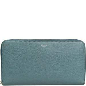 Celine Light Blue Leather Multifunction Zip Around Wallet