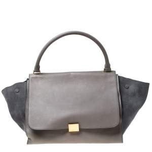 Celine Grey Leather and Suede Large Trapeze Top Handle Bag