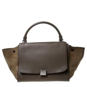 Celine Olive Green Leather and Suede Medium Trapeze Top Handle Bag