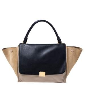Celine Beige/Black Leather and Suede Medium Trapeze Top Handle Bag