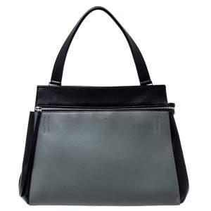 Celine Black/Grey Leather Medium Edge Top Handle Bag