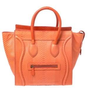 حقيبة يد سيلين لاغدج جلد ثعبان برتقالية ميني