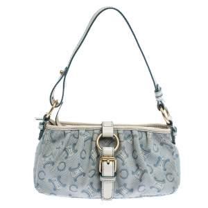 Celine Blue/White Monogram Canvas and Leather Shoulder Bag