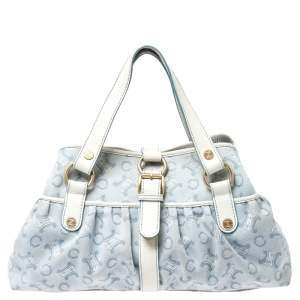 Celine Blue/White Monogram Canvas and Leather Satchel