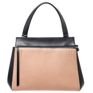 حقيبة سيلين ايدج متوسطة يد علوية جلد بيج و أسود