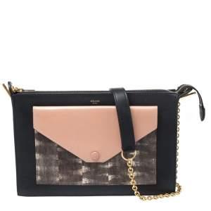 Celine Multicolor Leather and Lizard Pocket Envelope Shoulder Bag
