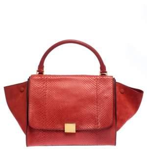 Celine Orange Python and Suede Medium Trapeze Top Handle Bag