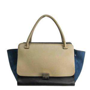 Celine Navy/Gray Suede And Leather Medium Trapeze Bag