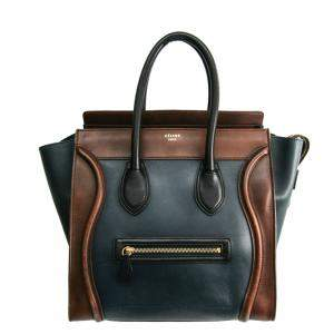 Celine Brown/NavyBlue Leather Micro Luggage Tote