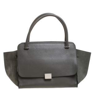 Celine Olive Green Leather Double Zip Trapeze Bag