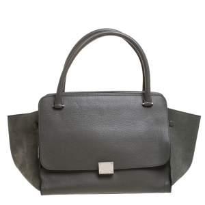 حقيبة سيلين Trapeze سحاب مزدوج جلد خضراء زيتونية