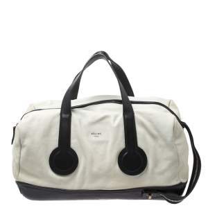 Celine White/Black Leather Vintage Weekender Bag