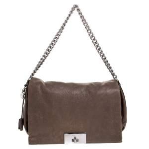 Celine Dark Beige Pebbled Leather Trunlock Flap Chain Bag