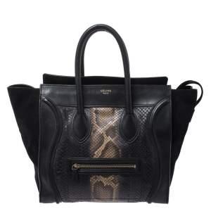 Celine Black Python and Suede Mini Luggage Tote