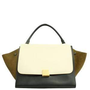 Celine Beige Leather Suede Tricolor Trapeze Bag