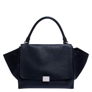 Celine Navy Blue Leather Medium Trapeze Top Handle Bag
