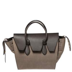Celine Khaki Croc Embossed Leather Small Tie Knot Tote