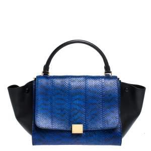 Celine Blue/Black Python and Leather Medium Trapeze Bag