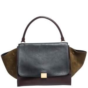 حقيبة يد سيلين ترابيز جلد ثلاثي اللون كبيرة