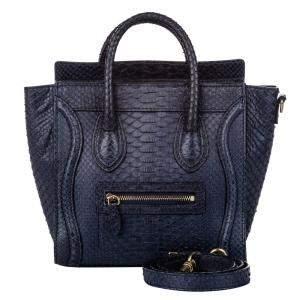 Celine Blue Python Leather Nano Luggage Satchel Bag