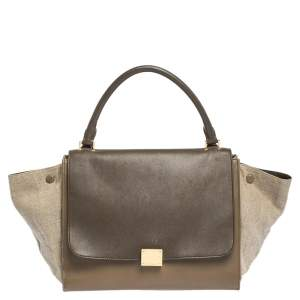 Celine Tri Color Leather and Canvas Medium Trapeze Top Handle Bag