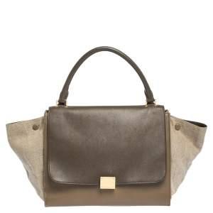 حقيبة يد سيلين ترابيز ثلاثية اللون جلد وكانفاس متوسطة