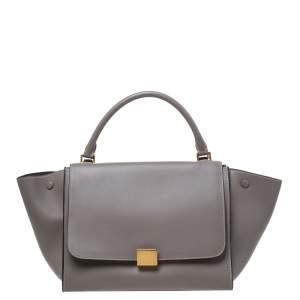 حقيبة سيلين ترابيز جلد رمادية متوسطة