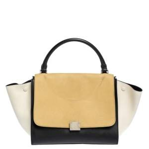 Celine Tri Color Nubuck and Leather Medium Trapeze Top Handle Bag