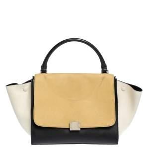 Celine Tri Color Nubuck and Leather Medium Trapeze Bag