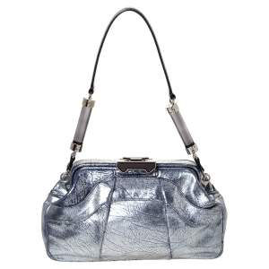 Celine Metallic Silver/Blue Crackled Leather Pushlock Frame Satchel