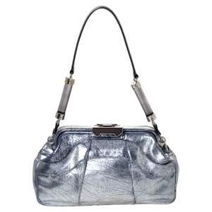حقيبة ساتشل سيلين إطار قفل ضاغط جلد مشقق زرقاء/ فضية ميتالك
