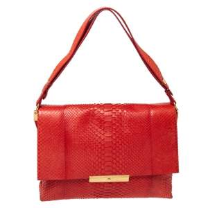 Celine Red Python Blade Flap Bag