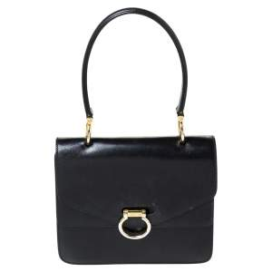 Celine Black Leather Vintage Flap Top Handle Bag
