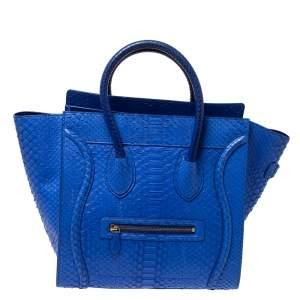 Celine Blue Python Mini Luggage Tote