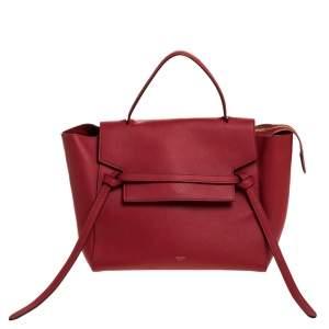 حقيبة سيلين يد علوية حزام جلد حمراء