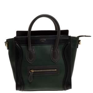 حقيبة سيلين نانو لاغيدج جلد سوداء/ خضراء