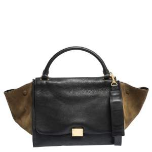 Celine Black/Khaki Leather and Suede Medium Trapeze Top Handle Bag