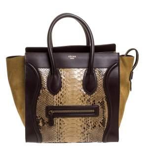 حقيبة يد سيلين ميني لاغيدج جلد ثعبان وسويدي وجلد متعددة الألوان