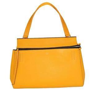 حقيبة سيلين إيدج جلد أصفر متوسطة بيد علوية