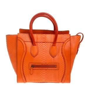 حقيبة يد سيلين ميني لاغيدج جلد ثعبان برتقالية
