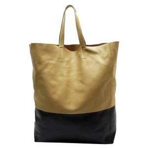 حقيبة سيلين جلد أسود وذهبي سوداء