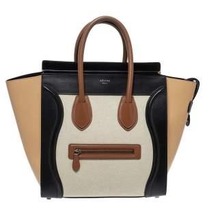 حقيبة يد سيلين ميني لاغيدج كانفاس وجلد متعددة الألوان